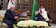 الرئيس محمود عباس يجتمع مع خادم الحرمين الشريفين الملك سلمان بن عبد العزيز آل سعود